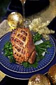 Roast pork with cloves for Christmas dinner