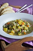 Heathly vegetable soup with chives