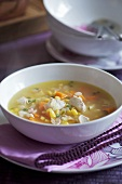 Chicken soup with sweetcorn and carrots