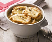 Onion soup with bread, cheese and caraway