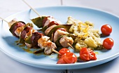 Pork-chorizo kebabs with an aubergine medley