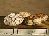 Three different organic bread on a wooden table