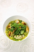 Bread soup with fresh herbs