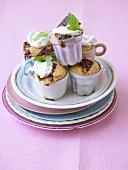Mini chocolate cakes in cups and ramekins