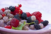 Various fresh berries on a plate (close-up)