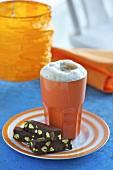Latte macchiato and chocolate pistachio terrine