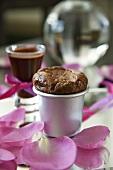Mini chocolate cheesecake in a tin