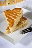 Two slices of galette des rois frangipane