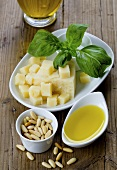 Parmesan with basil, pine nuts and olive oil