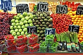 A fruit and vegetable market stall (Mercat de St. Josep (Boqueria), Las Ramblas, Barcelona, Spain)