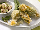 Stuffed courgette flowers with a mushroom salad