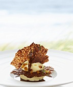 Corn ice cream with coffee jelly and crispy wafers