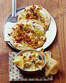 Unleavened bread with bacon and onions and pork ragout