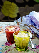 Lemon granita and strawberry & peach soup