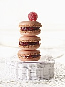 Macarons with raspberry jam filling