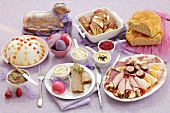 Easter buffet (cold cuts, pâté, paskha, Easter lamb etc.)