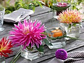 Dahlias and floating candle in square glasses