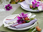 Napkin decorations (mallow flowers and crab apples)
