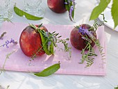 Peaches with small posies of vetch