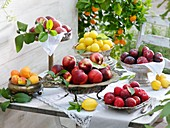 Yellow, purple & red plums, nectarines, peaches & apricots in silver dishes