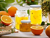 Orange jelly with lemon thyme