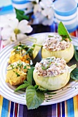Stuffed kohlrabi with mashed potato and carrot