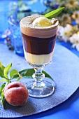 Eiskaffee (iced coffee drink) with peach liqueur
