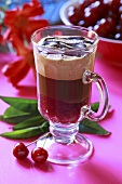 Coffee with cherry mousse