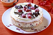 Ice cream cake with raspberries and chocolate shavings
