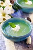 Green fruit jelly with cream