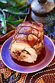 Rolled ham with mushroom stuffing