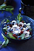 Blueberry and coconut salad with pomegranate seeds