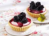 Two blackberry tarts