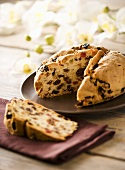 Pandolce genovese (Sweet bread with raisins, candied fruit & pine nuts)