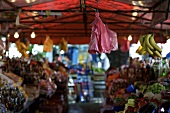 Market scene with fruit and vegetable stalls