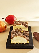 Two pieces of pear crumble cake