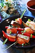 Salmon, chilli and onion skewers