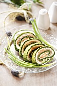 Sliced salmon and spinach roulade