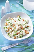 Risotto with peas, carrots and cheese
