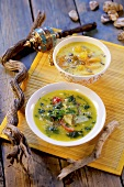 Two different vegetable soups
