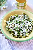 Green ribbon pasta with cheese sauce