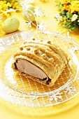 Roast pork in puff pastry for Easter