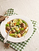 Vegetable soup with meatballs and pasta