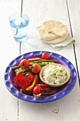 Barbecued vegetables with lemon and herb cream