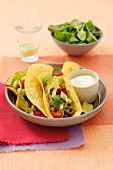Chicken and avocado burritos with coriander