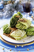 Savoy cabbage leaves stuffed with mushrooms (Christmas)