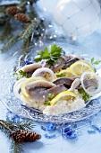 Herrings with lemon and onions (Polish Christmas dish)