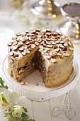 Caramel cake with hazelnuts for Christmas