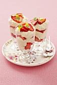 Strawberry and stracciatella dessert