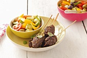 Mince skewers with salad